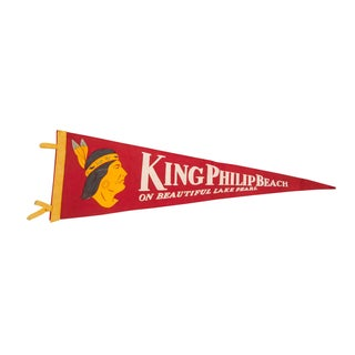 King Philip Beach Lake Pearl Felt Flag