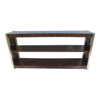 Century Furniture Burl & Brass Shelf Console
