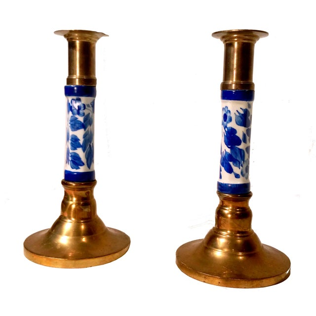 Porcelain Delft & Brass Candlestick Holders - Pair - Image 1 of 6