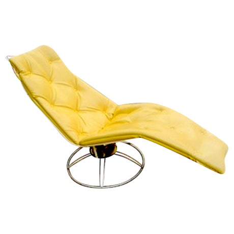 Image of Vintage Yellow Recliner Chair