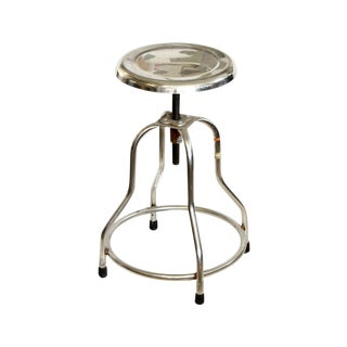 Industrial Adjustable Height Polished Stool