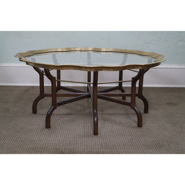 Brass & Glass Tray Top Coffee Table By Baker