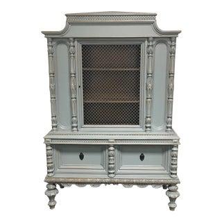 Vintage Shabby Chic Pagoda Shaped Display Cabinet
