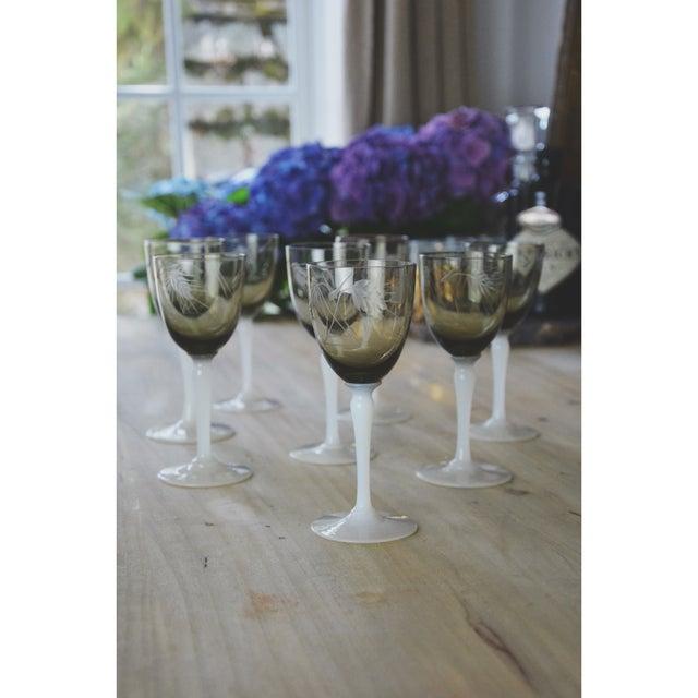 Vintage Smoke Grey Goblets - Set of 9 - Image 4 of 9