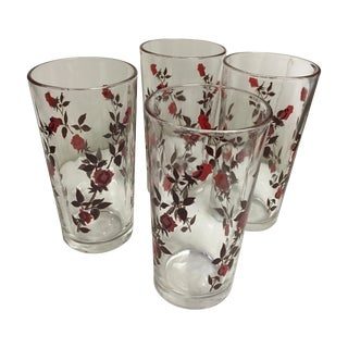 Vintage Glasses With Roses - Set of 4