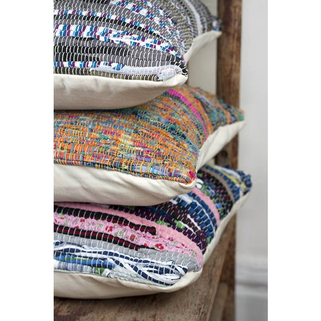 Handwoven Rag Rug Pillow-A Pair - Image 3 of 4