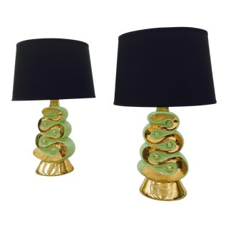Retro Green & Gold Lamps - A Pair