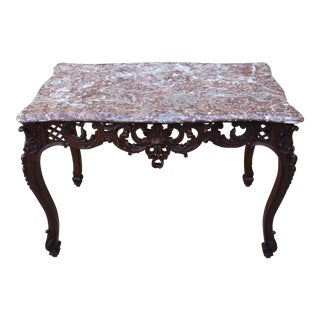 French Carved Marble Top Table