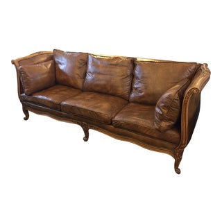 Antique Sofa Daybed Conversion Distressed Leather