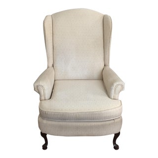 Vintage Ivory Wingback Chair