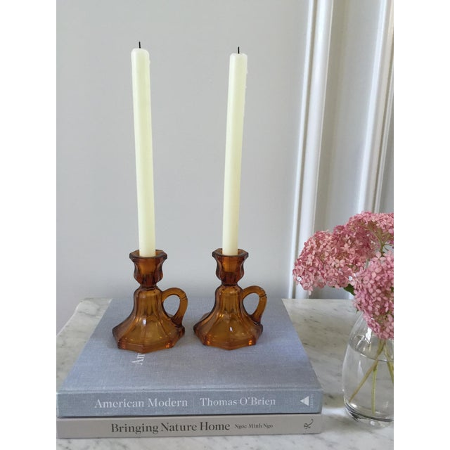 Mid-Century Amber Glass Candle Holders - A Pair - Image 6 of 6