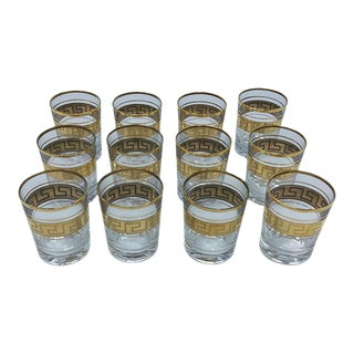 Greek Key Design Glasses - Set of 12