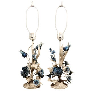 Italian Blue And White Floral Tole Lamps - Pair