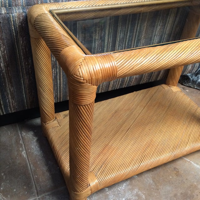Two Tier Rattan Table - Image 4 of 6