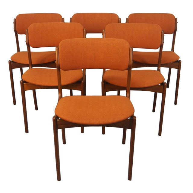 Erik buch danish modern teak dining chairs 6 chairish for Modern dining chairs ireland
