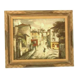 Vintage Paris Street Scene Oil Painting