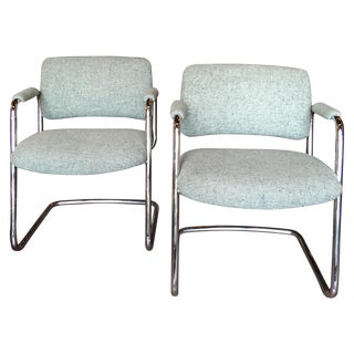 1970s Tweed Chrome Chairs - Pair
