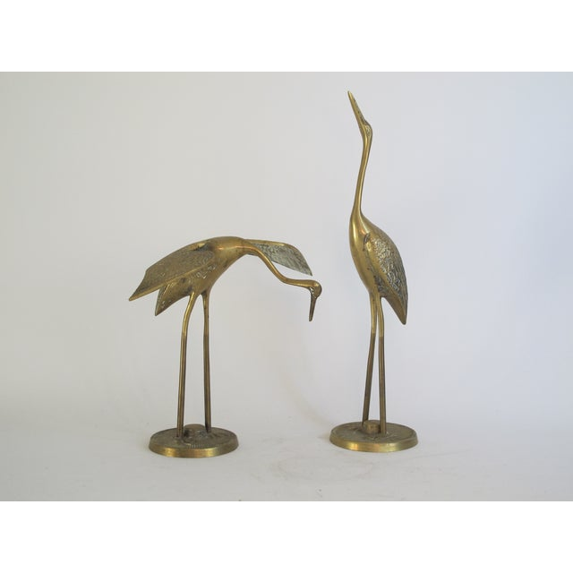 Image of Hollywood Regency Brass Cranes on Stands - A Pair