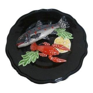 Majolica Fish & Crawfish Wall Platter
