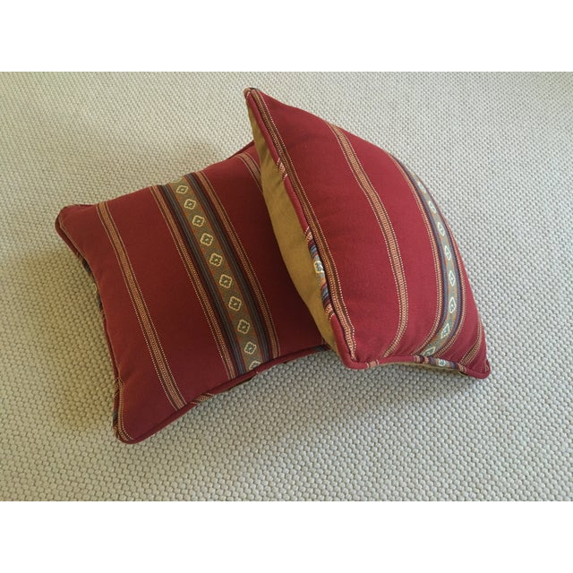 Red Southwestern Stripe Pillows - A Pair - Image 3 of 9
