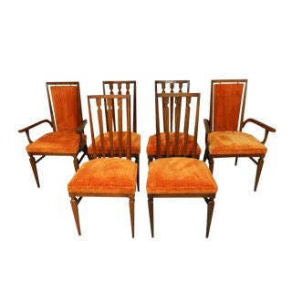 Mid-Century Orange Dining Chairs - Set of 6