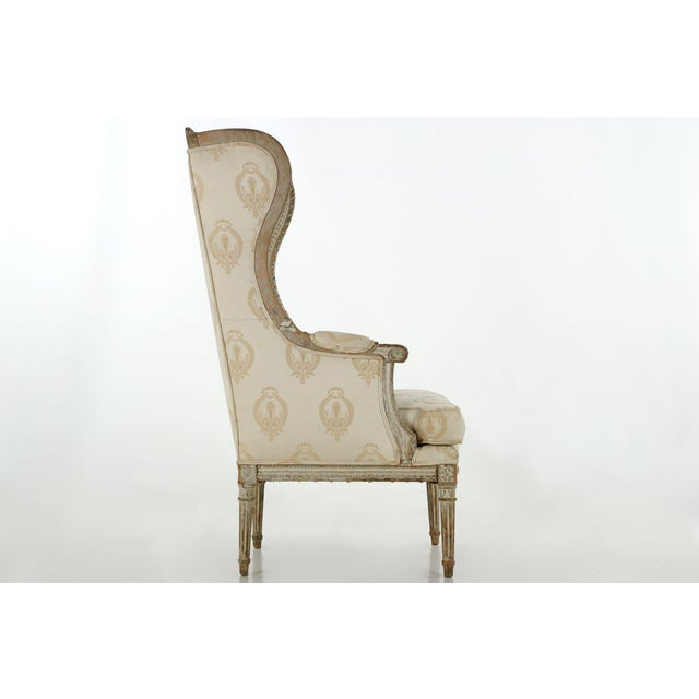 French Louis XVI Distressed Wingback Armchair - Image 4 of 11