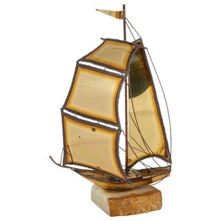 Charming Torch Cut Brass Sailboat Sculpture