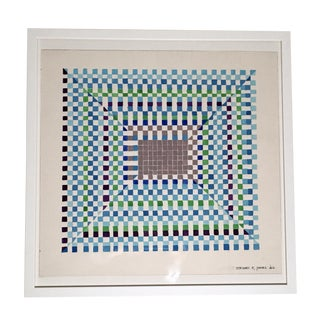 Stewart Ross James Blue and Green Square Geometric Watercolor Drawing