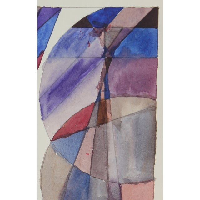 Image of Vintage 1965 Abstract Geometric Gouache Painting
