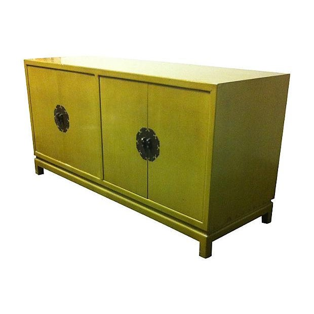 Chartreuse Asian Style Lacquered Credenza - Image 2 of 7