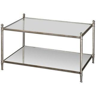 Silver-Leaf Mirrored Shelf Coffee Table