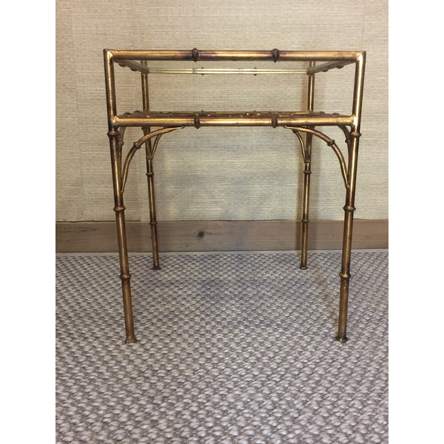 Bamboo Gold Table: Faux Bamboo Gold Metal Glass Top Side Table