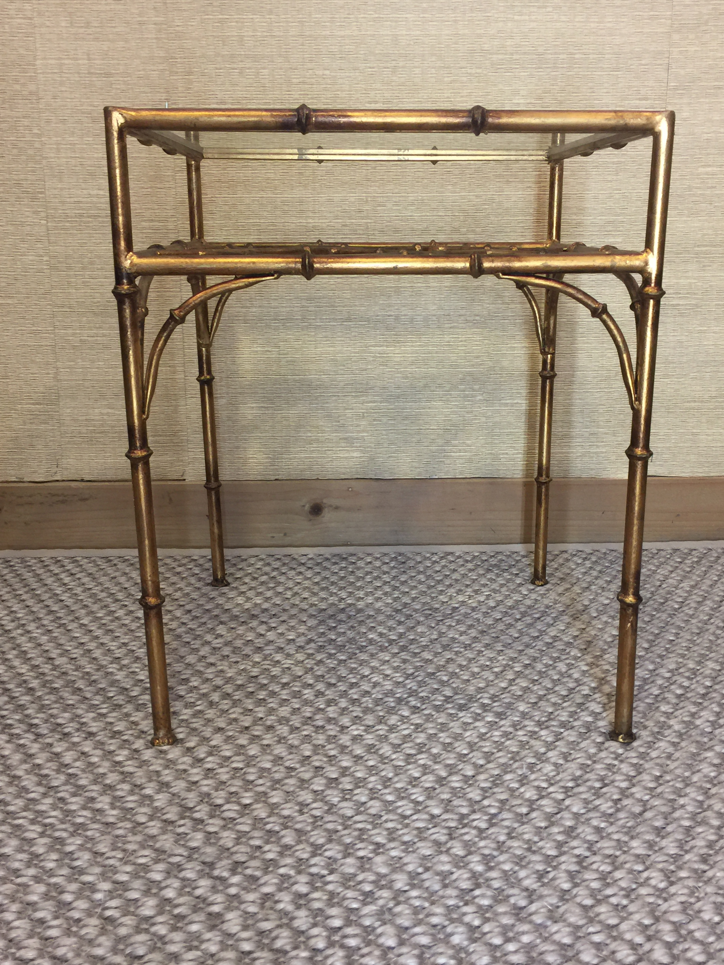 Faux Bamboo Gold Metal Glass Top Side Table   Image 3 Of 7
