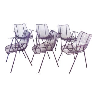 Set of 6 Purple Woodard Garden Armchairs