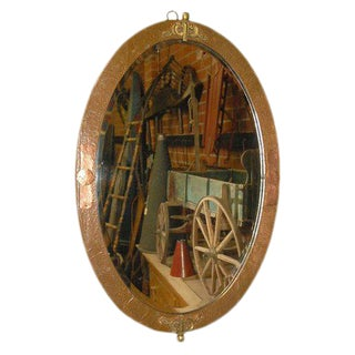 Oval Mirror in Copper and Brass Frame