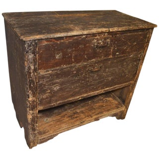 Primitive Wooden Two-Drawer Cabinet
