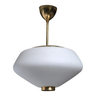 Brass and Opaline Glass Pendant, Finland, 1950s