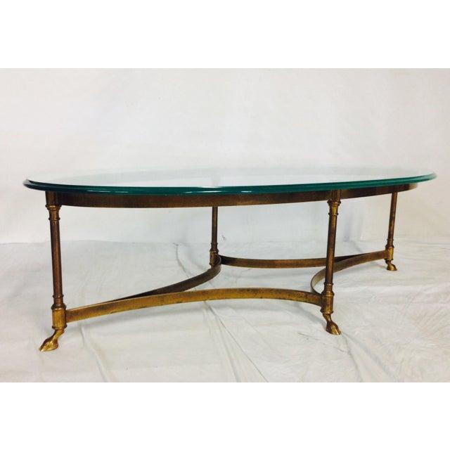 Vintage LaBarge Brass & Glass Hoof Coffee Table