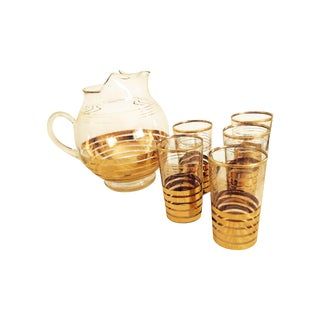 Gold Glass Pitcher and Five Tumblers Serving Set