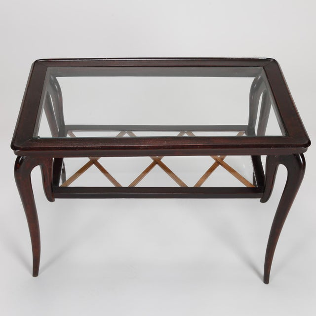 Antique Art Deco Tiered Walnut Glass Side Table - Image 4 of 11