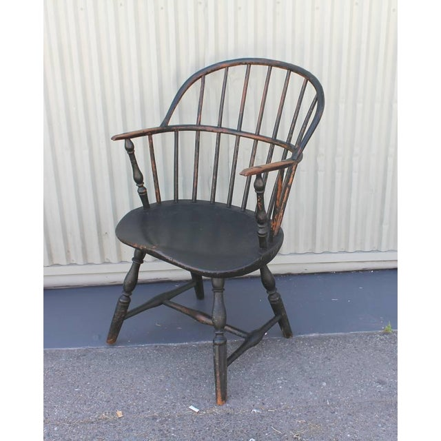 18th Century Original Painted and Signed New England Windsor Armchair - Image 4 of 10