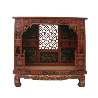Chinese Vintage Red Gold Scenery Canopy Bench Bed