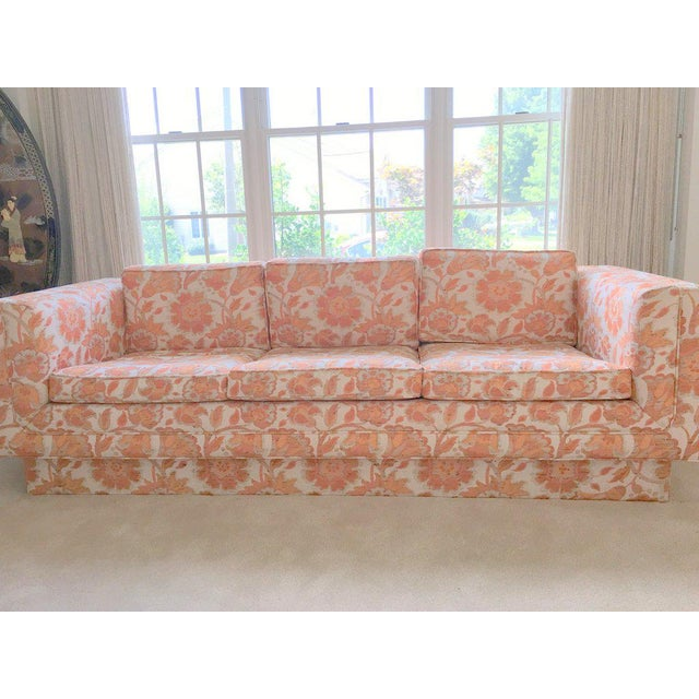 Mid Century Modern Milo Baughman Style Orange Indian Print Upholstery Plinth Base Sofa - Image 4 of 9