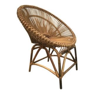 Mid-Century Modern Rattan Circle Chair