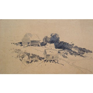 Pencil Study - Farm On A Hillside