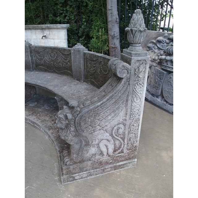 A Large Semi Circular Carved Limestone Griffins Bench - Image 5 of 11