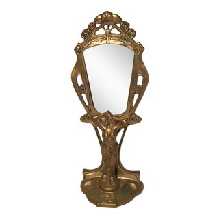 Art Nouveau Brass Vanity Mirror