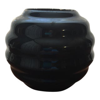 Mid-Century Black Art Glass Vase