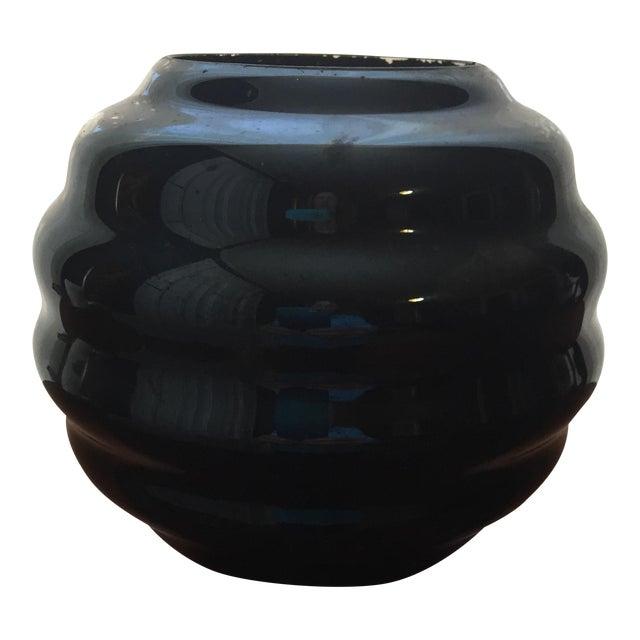 Image of Mid-Century Black Art Glass Vase