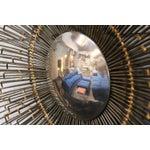 Image of 1960s Metal Sunburst Wall Art Mirror